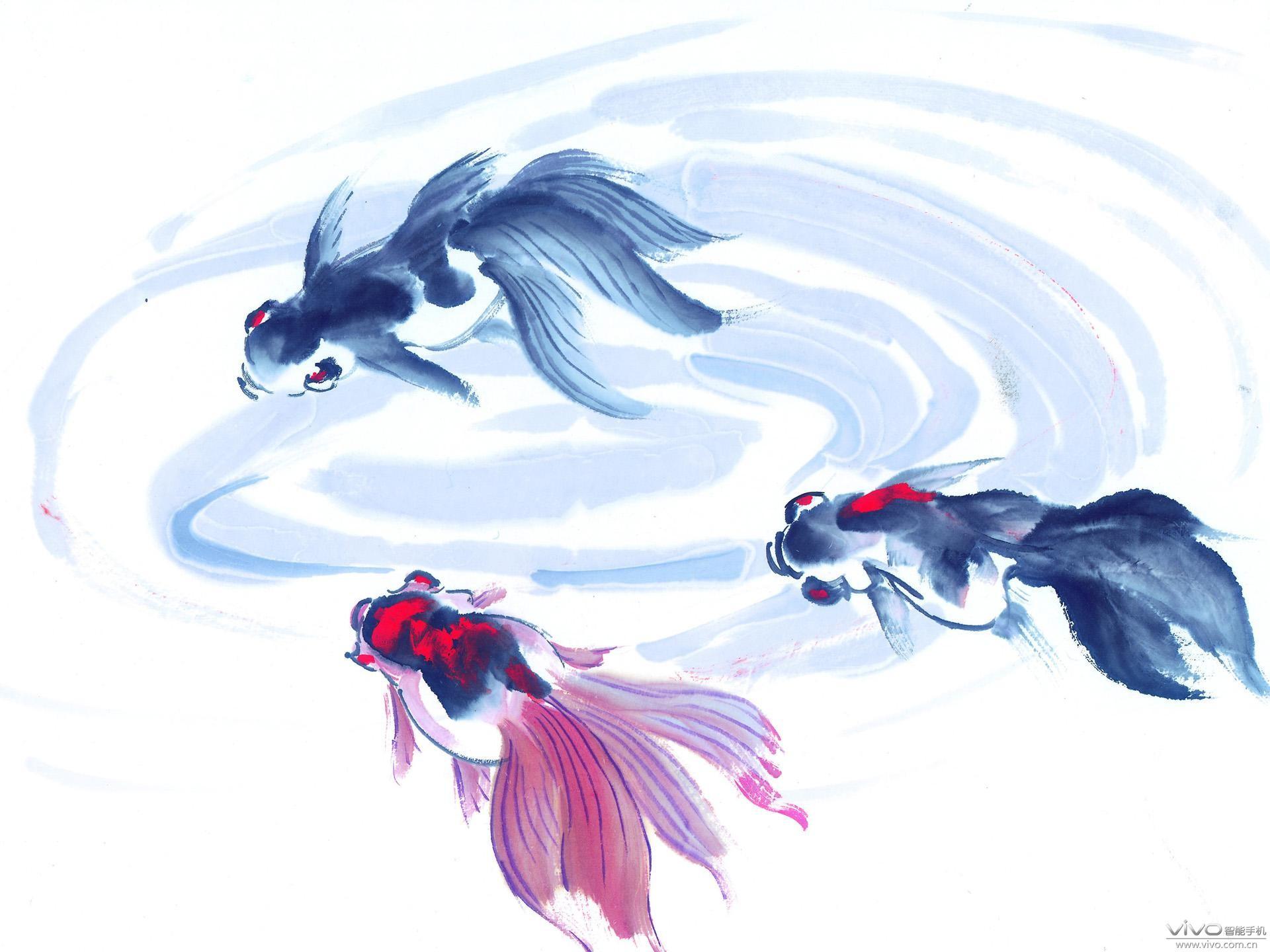 水墨画鱼儿 手机壁纸 vivo智能手机互动社区 高清图片