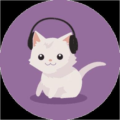 求动态头像,白色小猫带耳机那个